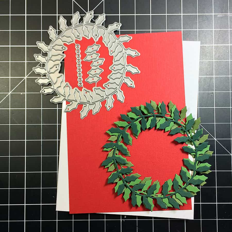 Wreath Christmas Cards for everyone this year! Super easy and fun to make, just die cut, stamp and stick :)