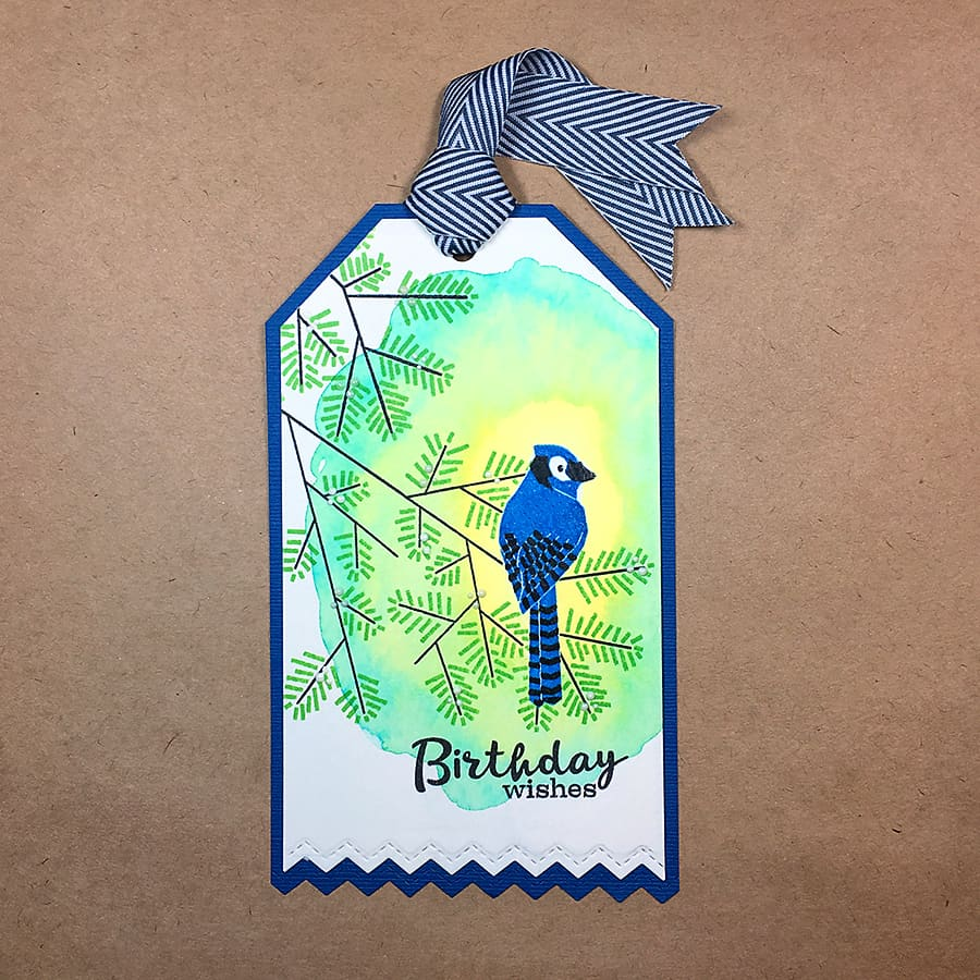 A Watercolor Birthday Tag for Bird Lovers