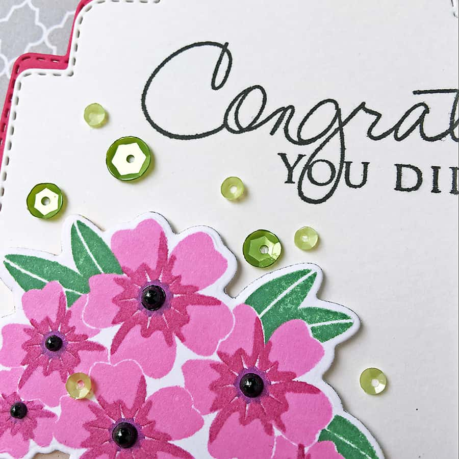 Congrats Gift Tag - Stamped images from Papertrey Ink, altered coffee mug die from Simon Says Stamp. To create the gold finish, swipe your watermark ink across the bottom of the tag, dip in gold embossing powder and heat!