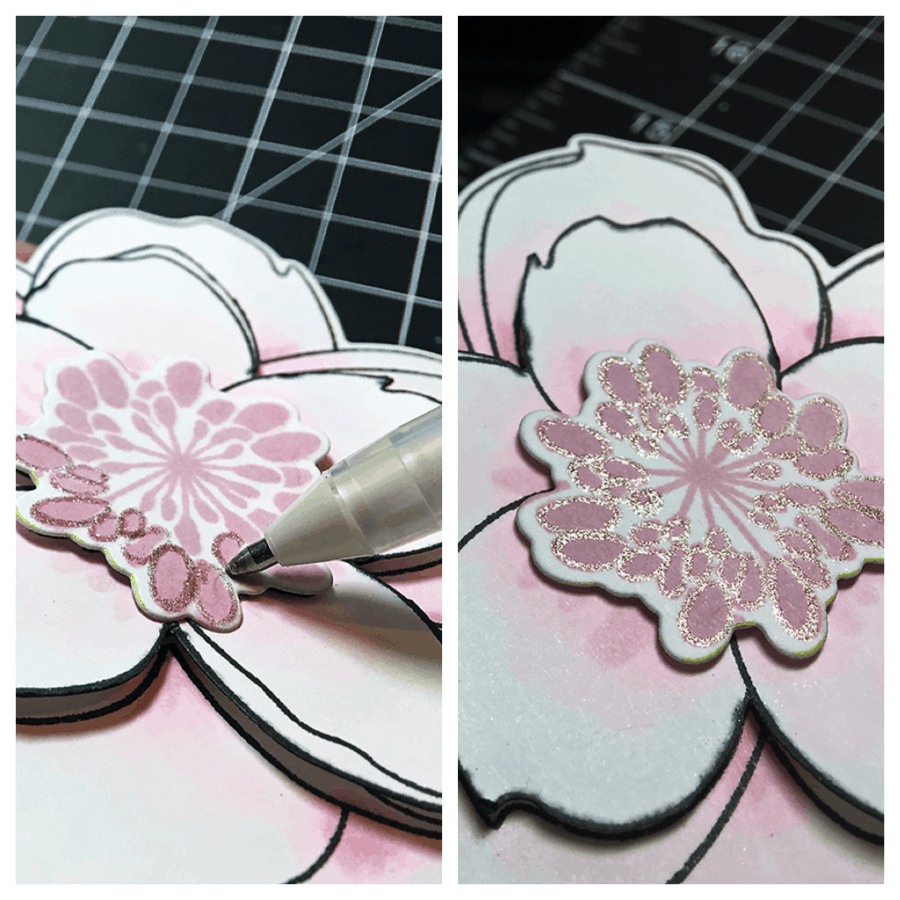 A lovely large magnolia colored with Copics with a little silver glitter gel pen for added sparkle!