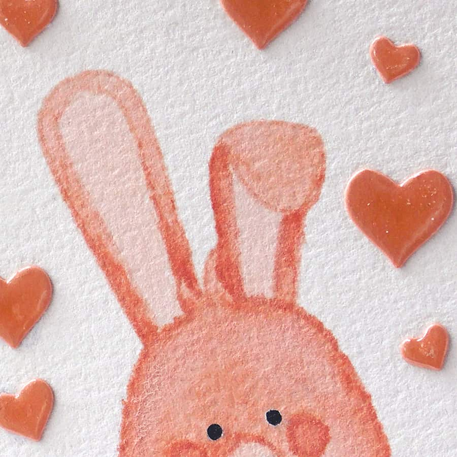 A Cute Bunny Card with No-Line Watercoloring