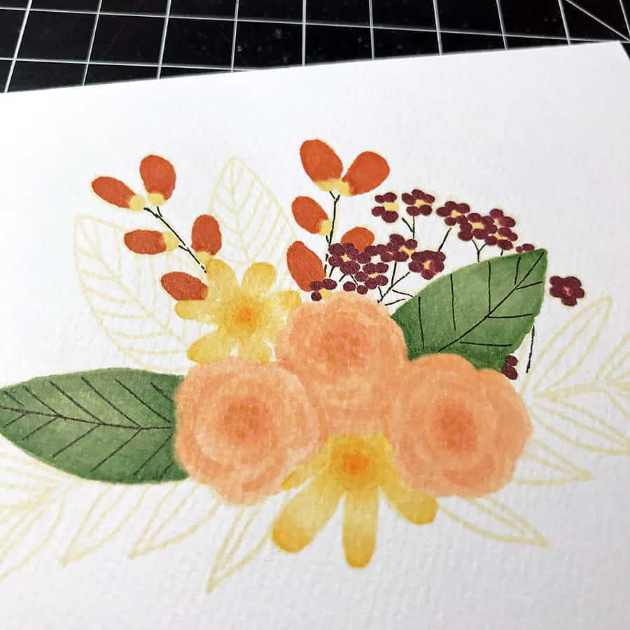 Autumn No-Line Coloring with Copic Markers