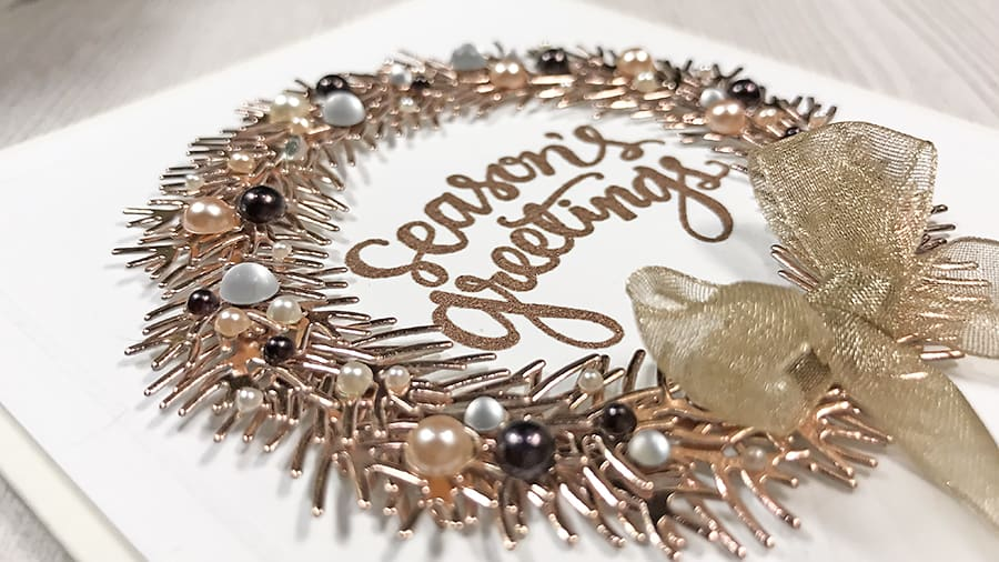Pearls and Rose Gold Holiday Wreath Card