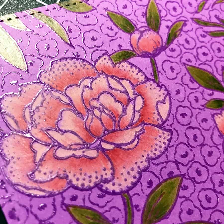 A Hand-Colored Floral Valentine, closeup of completed colored flower