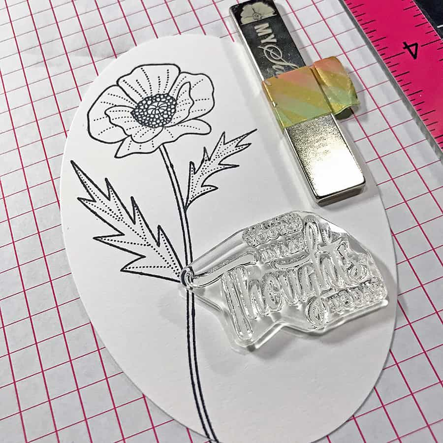 Coloring a Poppy With Copic Markers. Stamping the poppy and sentiment