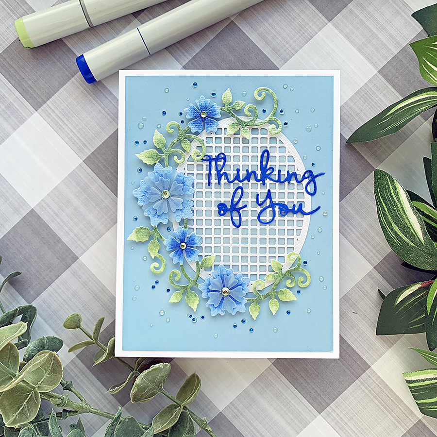 Die-Cut Design: Thinking of You Floral Oval