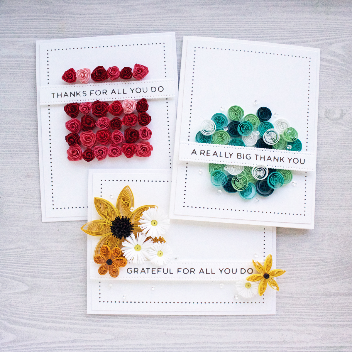 A Trio of Elegant Floral Quilled Thank You Cards